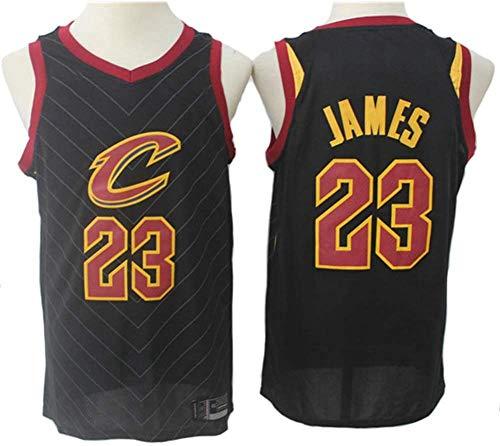 Wo nice Uniformes De Baloncesto para Hombres, Cleveland Cavaliers # 23 Lebron James NBA Retro Basketball Jerseys Casual Sports Chalecos Sin Mangas Tops Transpirables Camisetas,Negro,M(170~175CM)