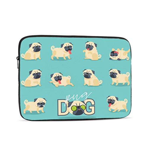 MacBook Air 13 Accessories Cartoon Character Pug Dog Poses Cute Case for MacBook Air Multi-Color & Size Choices10/12/13/15/17 Inch Computer Tablet Briefcase Carrying Bag