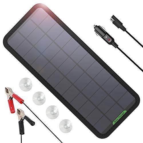 GIARIDE 12V 7.5W Solar Autobatterie Ladegerät Eco-Worthy Tragbares Akku-Ladegerät SunPower Solarpanel Backup für Auto-Boot RV Traktor Motorrad Auto und Batterien