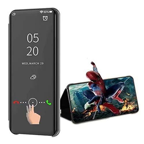 XJZ Compatible para Samsung Galaxy S6 Funda(Negro)+3D Vidrio Templado Pantalla Protector/Carcasa Flip Smart Translúcido Standing Soporte Caja Ultra Fina Suave+Duro Antigolpes Espejo Libro-2017
