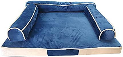 Mellifluous Dog and Cat Sofa Pet Bed, Blue-Cream