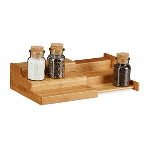Relaxdays, natuurlijk bamboe kruidenrek, 3 planken, uittrekbaar, natuurlijke look, vochtbestendig, h x b x d: 8 x 38,5 x 21 cm, standaard
