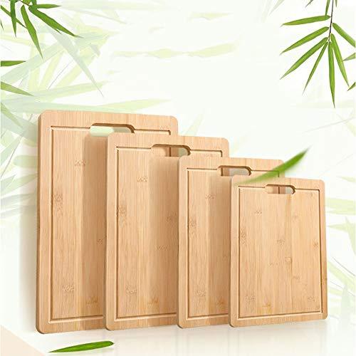 Tabla de cortar de bambú carbonizado, tabla de cortar de bambú, tabla de cortar de madera de bambú, tabla de cortar de madera maciza de bambú, tabla de cortar de bambú (38 x 28 cm)