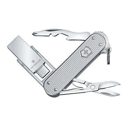 Victorinox Taschenmesser Alox Jetsetter Work, mit 32GB USB-Stick, 6 Funktionen, Schere, Schraubendreher, silber