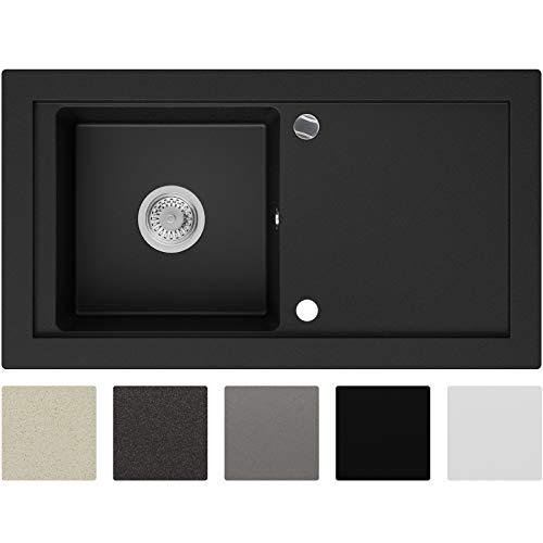 Granitspüle Schwarz 89 x 49,5 cm, Spülbecken + Siphon Automatisch, Küchenspüle ab 60er Unterschrank in 5 Farben mit Siphon und Antibakterielle Varianten, Einbauspüle von Primagran