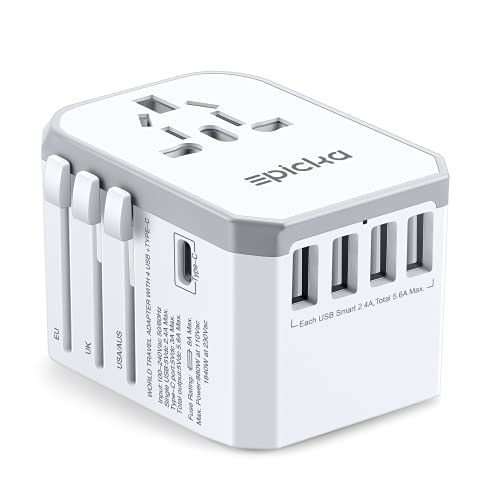 Universal Travel Power Adapter- EPICKA All in One Worldwide International Wall Charger AC Plug Adaptor with Smart Power USB for USA EU UK AUS Cell Phone Laptop (4 USB + Type C - White + Grey)