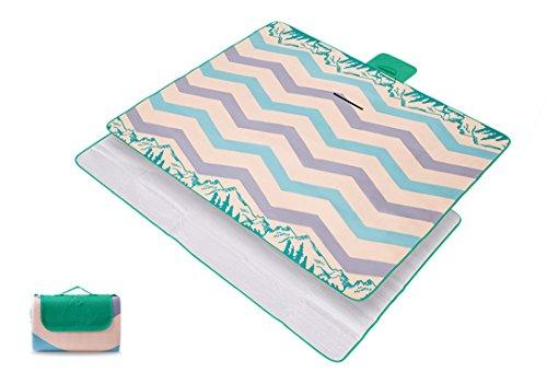 Zamac Grande couverture de pique-nique pliable étanche enroulable pour festival de voyage extérieur Camping 200/150 x 200 cm, style 1