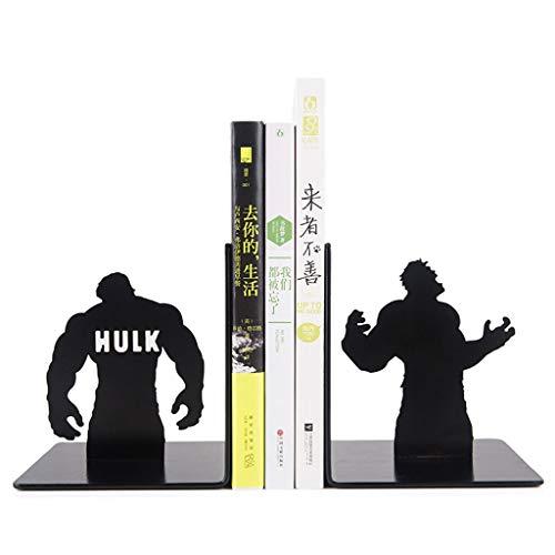 Jiji Buchstützen Metall Buchstützen Hulk Buchstützen Superheld Buchstützen geeignet for Home Office Learning Geschenke for Buch-Enthusiasten for Kinder Dekorative Buchstütze (Color : Black)