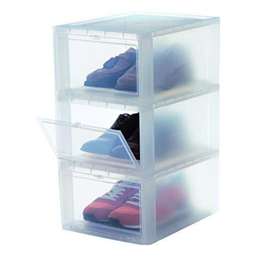 Iris Ohyama, lot de 3 boîtes à chaussures / boîtes de rangement pour chaussures - Drop Front Box - EUDF-M, plastique, transparent, 14 L, 35,5 x 28 x 18 cm