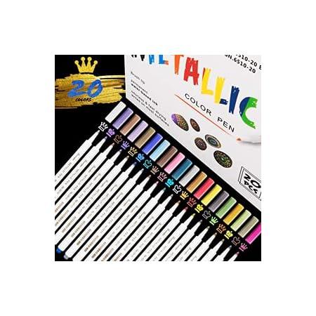 RATEL Marqueurs Métalliques, 20 Couleurs Brillantes Stylos marqueurs métalliques pour Bricolage Artisanat d'art, Peinture rupestre, Album Photo Bricolage,Métalliques Feutre Stylos pour la céramique