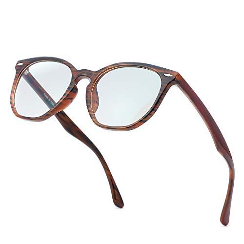 kimorn Blaulichtfilter Brillen Ohne Sehstärke Damen Herren Computer Gaming Brillen Anti Müdigkeit Leicht Retro Brillengestelle K0787 (Holzmaserung Rahmen/Blaulicht-Blockierlinse)