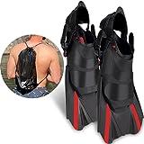 Khroom verstellbare Schnorchelflossen kurz | Mit Tasche zum umhängen [NEUZUGANG] Gr.36-47 Kurzflossen zum Schwimmen für Erwachsene Damen & Herren | Taucherflossen (Rot, 42-47)