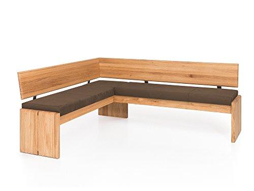 moebel-eins Scott Eckbank mit Truhe, Material Massivholz/Bezug Kunstleder, Kernbuche, 147 x 167 cm, Nougat