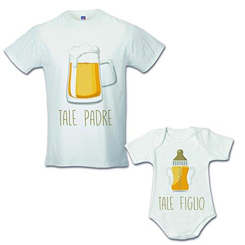 Idea Regalo Coppia di T-Shirt Papa' Figlio Tale Padre Tale Figlio - Birra Bianche Uomo M - Bimbo 3 Mesi