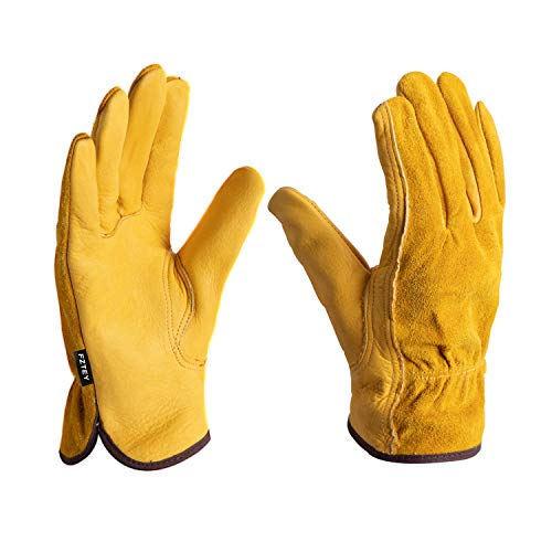 FZTEY 2 Pairs Heavy duty Gardening Gloves Ladies, Breathable and Flexible Garden Safety Work Protective Leather Gauntlets for Men & Women Birthday & Christmas Gifts 9(Large, Yellow)