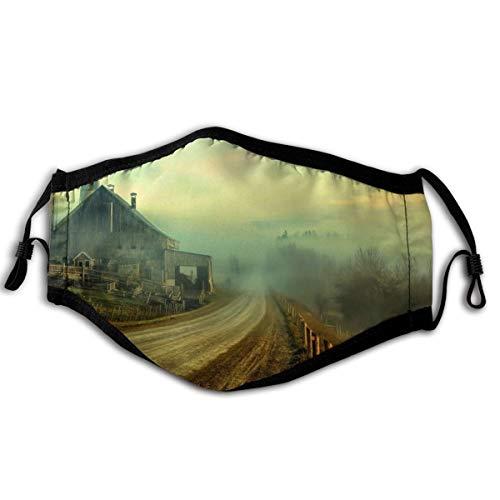Homect Unisex-Gesichtsmaske, Rundumschutz, UV-Schutz, Halstuch, Stirnband, Bauernhof, rustikal, Straßen, Zaun, Himmel, Wolken