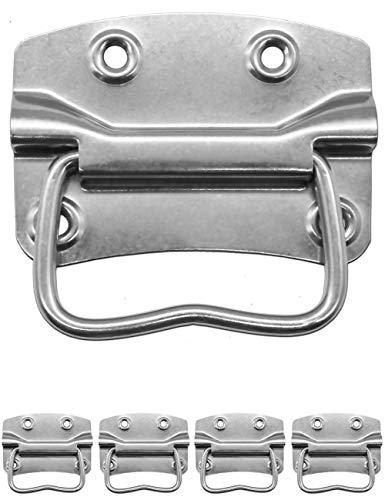 FUXXER® - 4x Metall-Griffe, Eisen-Griffe für Truhen, Kisten, Koffer, Cases, Racks klappbar (100 x 72 mm)