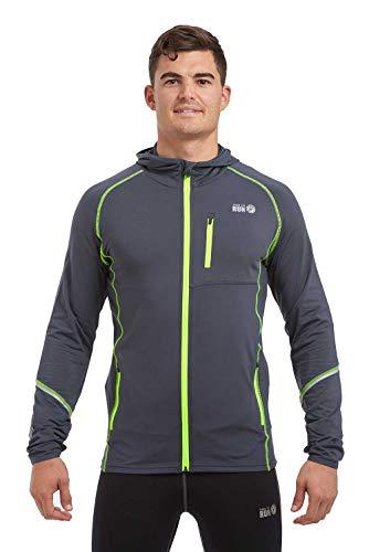 Giacca Termica da Uomo da Corsa con Zip e Cappuccio Thermo Running M Carbone Griggio