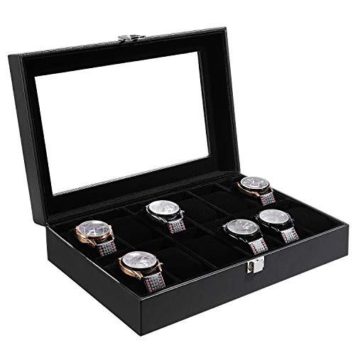 Femor Uhrenbox für 12 Uhren Watch Box, Uhrenkoffer mit Glasdeckel,Uhrenkasten Aufbewahrung aus PU Leder und Samt schwarz