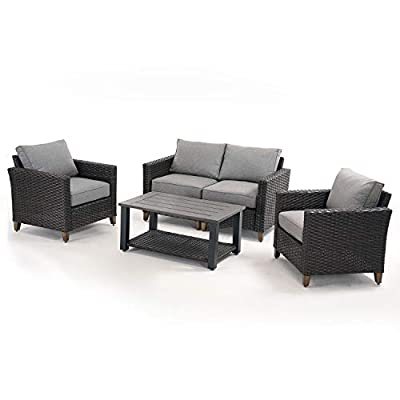 Grand patio Outdoor Patio Conversation Set 5 PCS Outdoor Furniture Set Sectional Sofa All-Weather Rattan Brown Backyard & Garden, Washable Light Gray Outdoor Cushions, Metal Rattan Patio Coffee Table