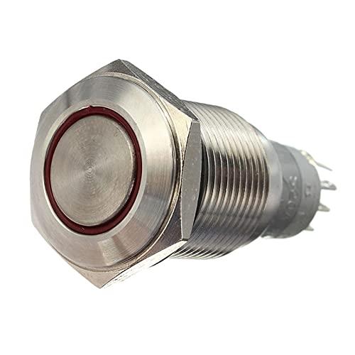 Yuquanxin 16 Mm 3A Coche LED Potencia Momento Momento Botón Metal Bloqueo De Metal On/Off Switch IP67 LED Potencia Pulsador 4 Colores Accesorios para Automóviles Durable (Color : White)