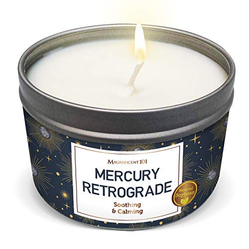 MAGNIFICENT101 Mercury Retrograde Aromatherapy Candle for Soothing and Calming - Sage Lavender Bergamot Lemongrass Frankincense Scented Natural Soybean Wax Tin Candle