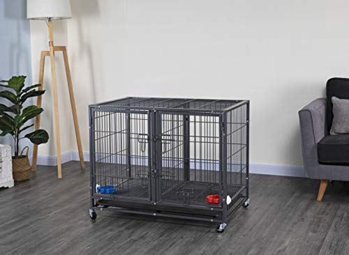 Go Pet Club NY-44 44' Heavy Duty Stackable Cat/Dog Crate with Divider and Water...