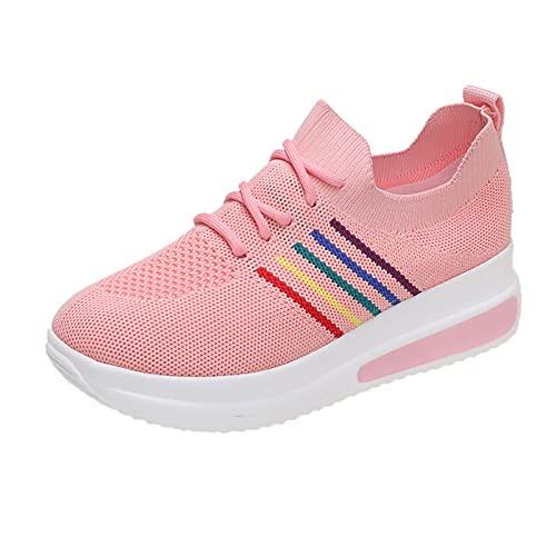 URIBAKY - Zapatillas de senderismo para mujer con suela gruesa y transpirable, transpirables, suaves y cómodas, para el aire libre, senderismo, para el aire libre, rosa, 40 EU