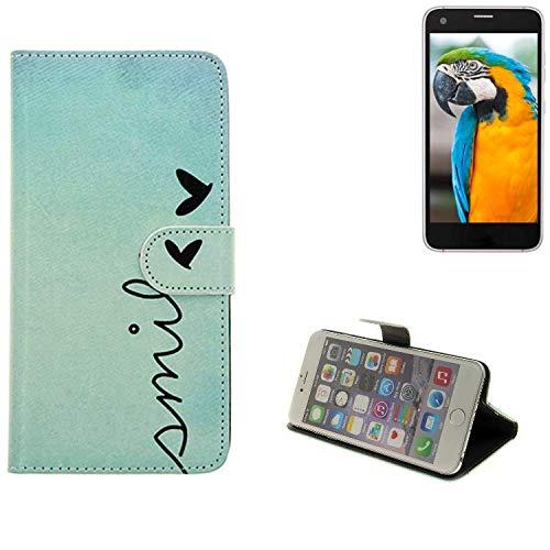 K-S-Trade® Schutzhülle Für Vestel V3 5040 Hülle Wallet Case Flip Cover Tasche Bookstyle Etui Handyhülle ''Smile'' Türkis Standfunktion Kameraschutz (1Stk)