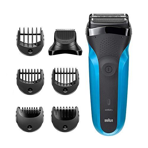 Braun Series 3 3-in-1-Elektrorasierer, Barttrimmer mit 5 Kammaufsätzen, Wet&Dry, 30 Minuten Akkulaufzeit, wiederaufladbarer und kabelloser Rasierer, schwarz/blau
