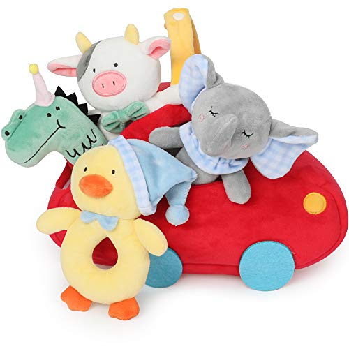 TILLYOU 4 PCS Soft Baby Rattle for Newborns, Plush Stuffed Animals, Rattle Shaker Set for Infants, Shower Gifts for Boys, Shaker & Teether Toys for 3 6 9 12 Months (Red Car Set)