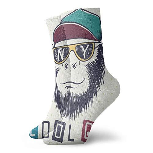 Hunter qiang Calcetines para mujer y hombre, calcetines para mujer, con diseño de monos, para gafas de sol y gorra, 30 cm
