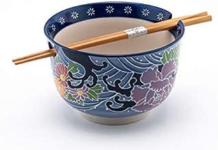 Hinomaru Collection Multi Purpose Ramen Udon Soba Pho Noodle Donburi Rice Tayo Bowl with Chopsticks Gift Set 6.25 Inch Diameter (Purple Floral)