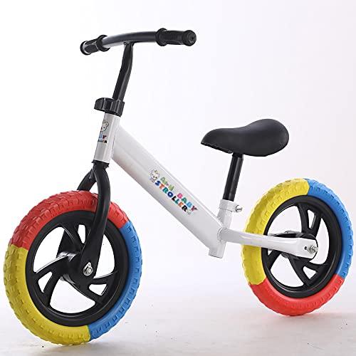 XJMPYGR 12'Niños sin Pedal, Bicicleta de Bicicleta de Bicicleta de Bicicleta de Bastidor de Acero al Carbono, para Jinetes Principiantes y niños pequeños de 1 a 7 años (Llantas de Colores),Blanco