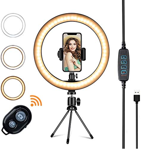 XIYUN 10'' Selfie Ring Light with Tripod Stand Cell Phone Holder,LED Make Up Light with 3 Light Modes for Camera style2