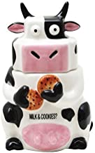 Pacific Giftware Ceramic Cow Cookie Jar Black/White, 10 inches H