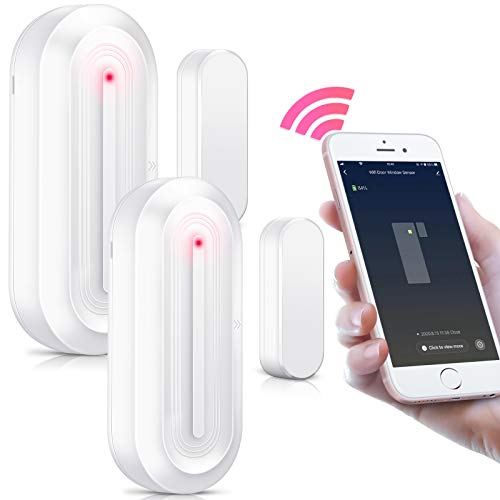 2 Pack PHYSEN Smart WiFi Türsensor mit Magnetsensor, Tür und Fenster Sensor mit APP-Steuerung, kompatibel mit Amazon Alexa und Google Home, geeignet für Zuhause/Büro/Geschäfte, Weiße