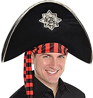 amscan 846172-55 Pirate Skull Hat Costume Accessory, Black/Red, One Size