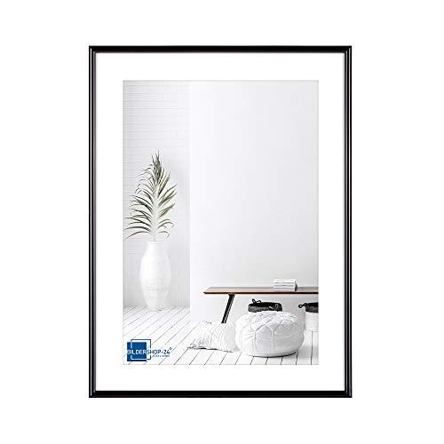Bildershop-24 Kunststoffrahmen modern Bilderrahmen, (15 X 21 cm) DIN A5 schwarz, inkl. Tischaufsteller
