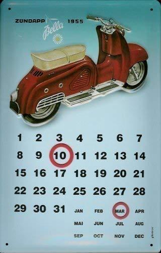 Zündapp Bella Motorroller 1955 Kalender Blechschild Calendar Metal Tin Sign 20 x 30 cm
