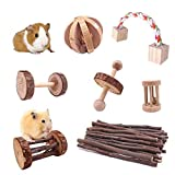 JanYoo Rat Chinchilla Toys Guinea Pig Accessories Bunny Chew Toys for Rabbits Hamster Gerbil Pack of 7