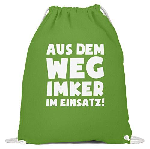 shirt-o-magic Imkern: Imker im Einsatz! - Baumwoll Gymsac -37cm-46cm-LimettenGrün