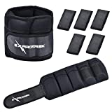 Exprotrek 1Pair 10Lbs Adjustable Ankle Weights, 1-5 Lbs Removable Iron Bar for Women Men, Wrist Arm Leg Weight Straps for Fitness, Gymnastics, Walking, Jogging, Workout (one Pair,2 PCs), Black