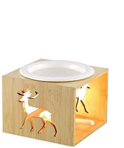 ecooe Aroma Duftlampe Teelichthalter Aromalampe 100ml Duftöllampe Teelicht ohne Kerze für ätherische Öle Aromabrenner aus Bambus Keramik…