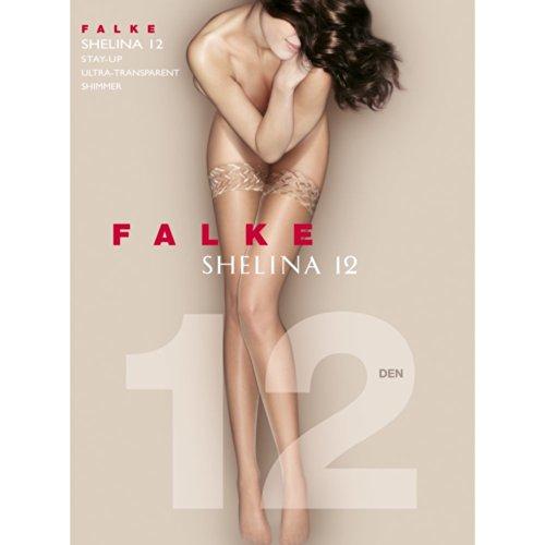 FALKE Shelina 12 DEN Damen Stay Ups noisette (5109) 8.5-9 mit schmaler Zierspitze