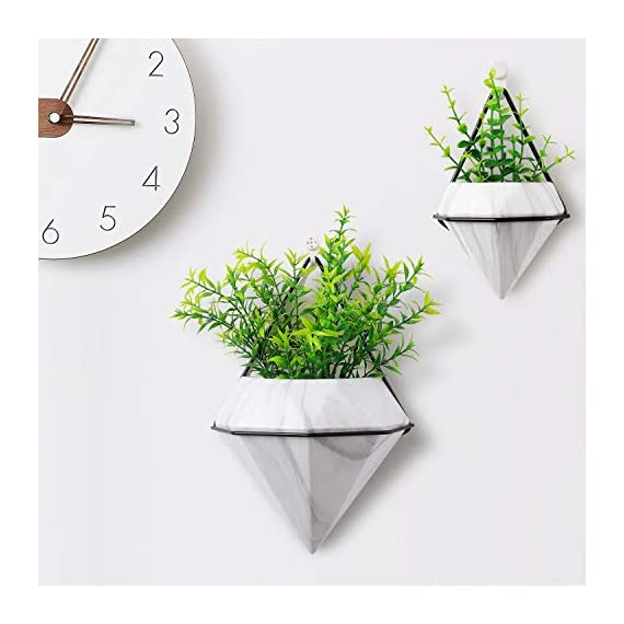 T4U Diamond Wall Planter Indoor, Set of 4 Geometric Wall Mounted Plant Holder Vase, Ceramic Succulent Air Plant Flower Pots Cactus Faux Plants Containers, White Modern Decor for Home and Office 4 - Made of Top-Quality ceramic and fired at 1200℃ temperature, modern and stylish, Quality Assurance. - Amazing diamond appearance makes it quite different from other classic wall planter. It's not a simple triangle container any more but a unique diamond decor on your wall, catching the first eye of people who passes by. - Made of iron and finished with black color, make the white diamond planter outstanding enough. You can put them in your living room, bedroom, kitchen, or study. Just anywhere you like.
