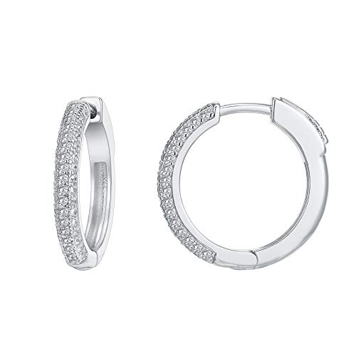 PAVOI 14K Gold Plated 925 Sterling Silver Cubic Zirconia Hoop Earrings | White Gold Hoops