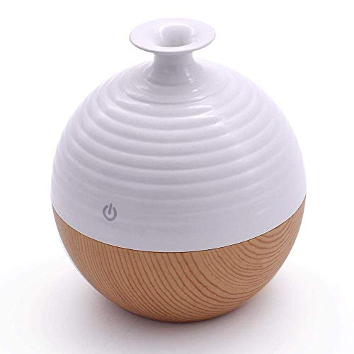 USB-aroma-diffuser voor etherische olie, 130 ml, kamer, Fragrant, ultrasone geluid, mist verdamper Home Spa, wit, luchtbevochtiger Dark Wood ccgdgft White Light Wood