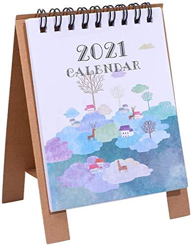 Calendario de escritorio 2021 con soporte para escritorio, calendario anual, planificador diario, páginas mensuales, calendario, 1 unidad (estilo E)