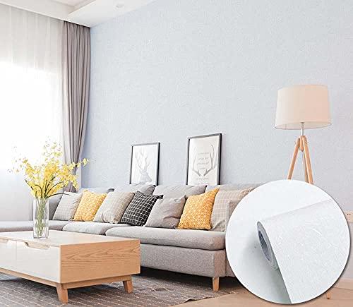 xiaoshun Papel pintado de vinilo autoadhesivo para dormitorio, decoración de dormitorio universitario, habitación de color sólido, 0,6 x 5 m, color blanco seda